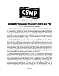 CSWP Open Letter to Socialist Alternative and 15 Now PDX