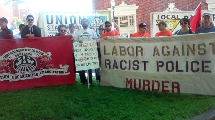 Labor Against Racist Police Murder contingent, Portland May Day 2015
