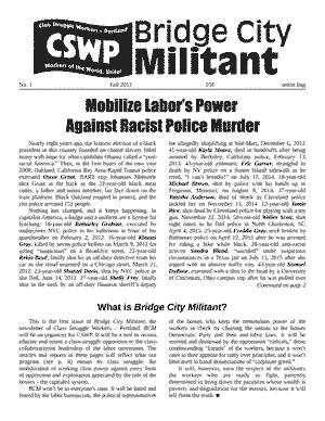 Bridge City Militant No. 1, Fall 2015