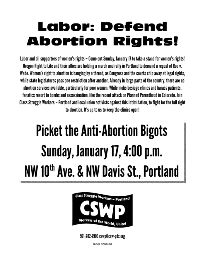 Flier for 17 January 2016 picket of anti-abortion rally