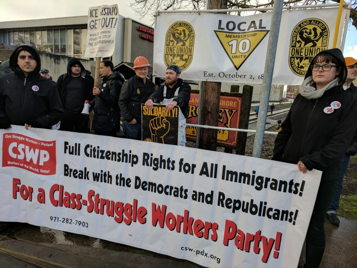 CSWP and IUPAT Local 10 banners at ICE Out of Oregon protest, 6 Mar 2017