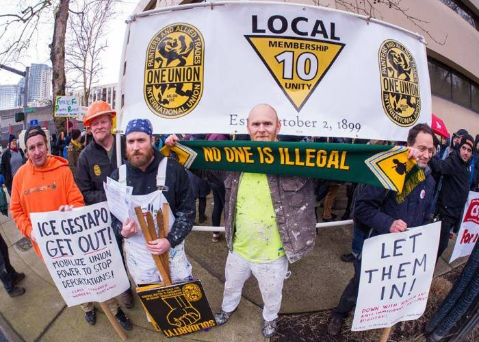"IUPAT Local 10 at the March 6 ""ICE Out of Oregon"" protest."