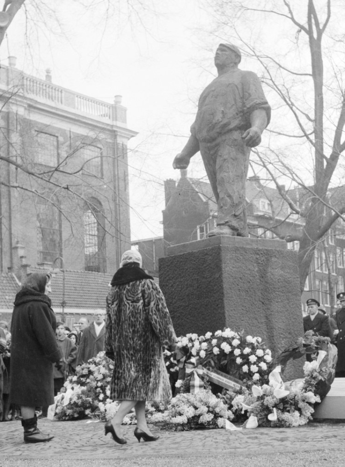 "Dedication of ""The Dockworker"" statue in Amsterdam, commemorating the February 1941 general strike against Nazi deportations of Jews."