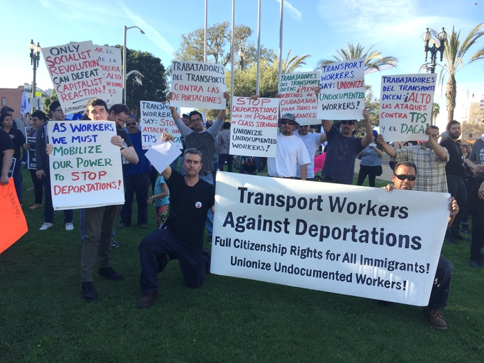 "Contingent of ""Transport Workers Against Deportations"" at January 13 protest in Los Angeles against end of TPS (Temporary Protected Status) for 200,000 Salvadorans and threat of deportation against them Contingente de ""Trabajadores del Transporte Contra las Deportaciones"" en la manifestación del 13 de enero en Los Angeles contra la amenza de deportación de 200.000 salvadoreños tras el fin de su ""estatus de protección temporal""."