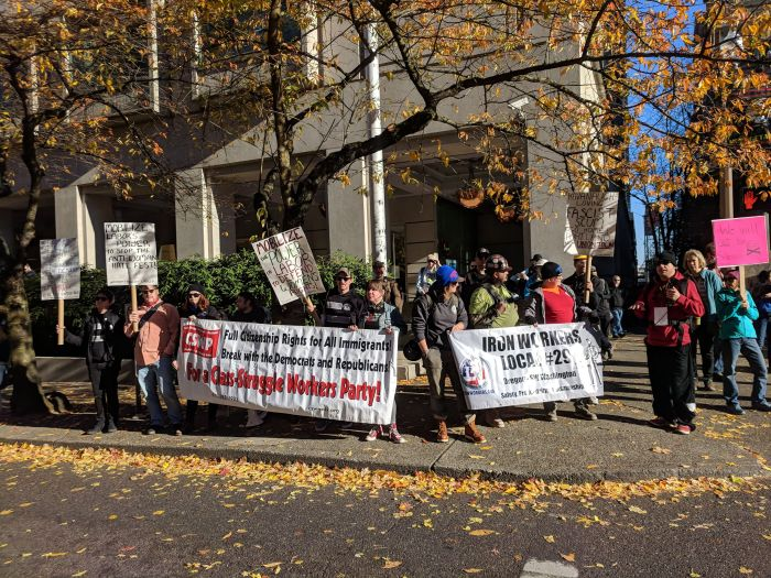 Union workers protest against fascist, anti-women #HimToo rally in Portland, 17 November 2018